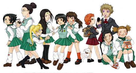 Naruto boys as school girls by suppai
