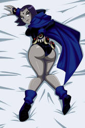 Raven lying on the bed (back) by JustAnotherRavenFan