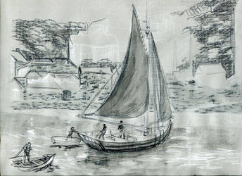 Gray Boat Sketch by Plotholetsi