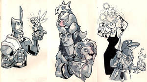 Moleskine drawing: 7th level character lineup by chief-orc
