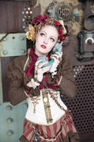 [STOCK] Steampunk Circus Girl with telephone by rufflesandsteam