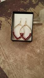 14k gold and Ruby Earrings by FreiaInguz