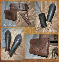Leather belt set fifth bracers and greaves by Shattan