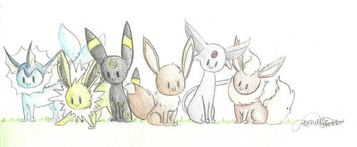 Eeveelutions by raydalmonster