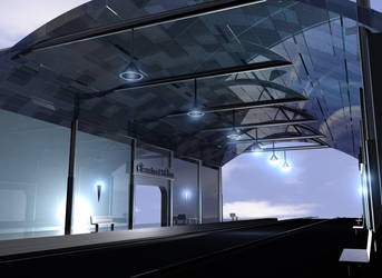 Futuristic Train station by mark1214