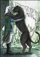 Drizzt and Guenhwyvar by triola