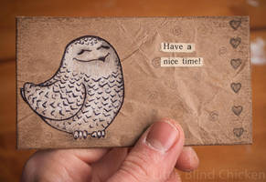 Snowy owl collage card by Little-Blind-Chicken