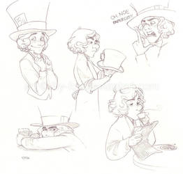 Hatter sketchdump by lily-fox