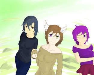 Rukasu, Desy and Purple by Raposa1