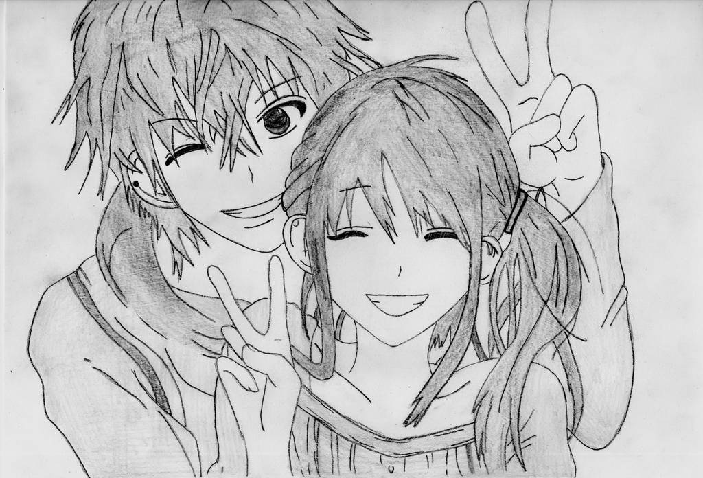 Anime couple drawing by 1DragonWarrior1 on DeviantArt
