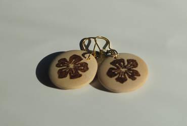 Sakura Wood Burned Earrings by aksinia