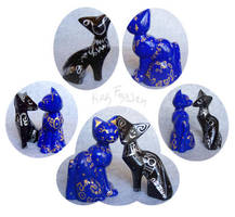 Cosmic Cats Figurine Pair by KazFoxsen