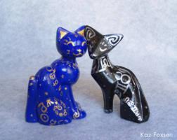 Celestial Cat Figures by KazFoxsen