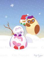 Siamese Cat Christmas Card by KazFoxsen