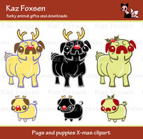 Christmas Pug Clip Art by KazFoxsen