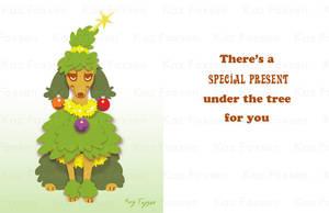 Poodle Dog Christmas Card by KazFoxsen