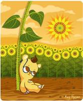 Cute Cartoon Bear with Sunflowers (Updated) by KazFoxsen