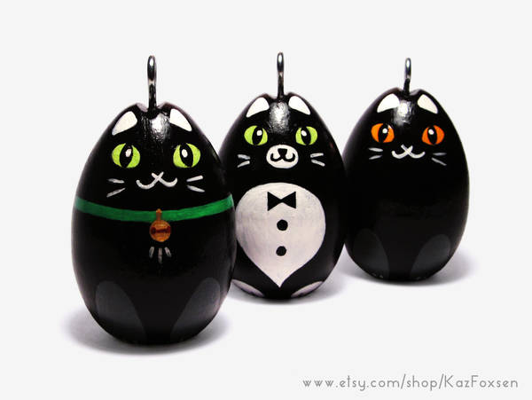 Hand-painted Egg Ornaments Black Catapalooza! by KazFoxsen