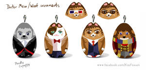 Doctor Mew/Doctor Woof Ornament/Figurine Designs by KazFoxsen