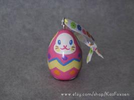 Custom Easter Egg Bunny Ornament or Figurine by KazFoxsen