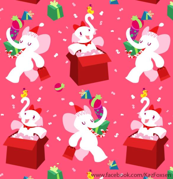 Kawaii Cartoon X-mas White Elephant Party Pattern by KazFoxsen