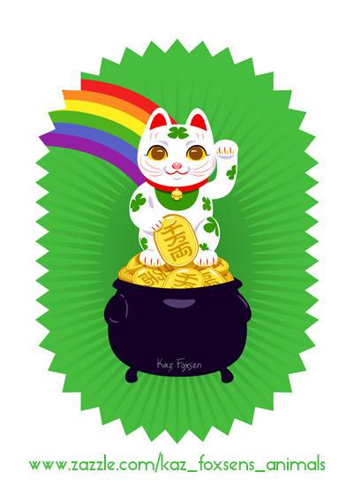 Japanese Lucky Cat Pot of Gold Zazzle Design by KazFoxsen