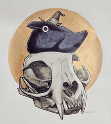 Inktober Crow with Bobcat Skull by Sabtastic