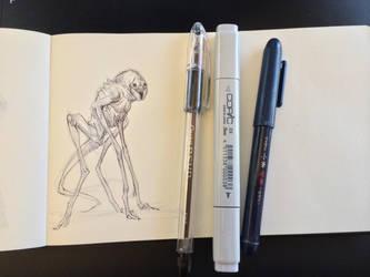 3D Creature Design: The Alien Rock Grubber- Sketch by JSMarantz