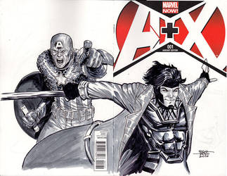 Avengers and X-Men - Capt. America and Gambit by edtadeo