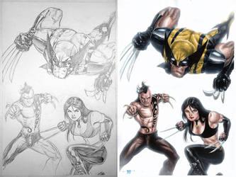 Wolverine, X-23, Daken - Pencil, Watercolors by edtadeo