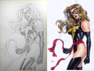 Ms. Marvel - Pencil-Watercolors Side-2-Side by edtadeo