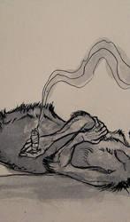 Smoking Wolf by CindarellaPop