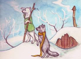 Winter Foxes by CindarellaPop