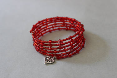Crystal red memory wire wrap bracelet by ettarielart