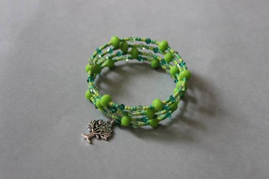Forest green memory wrap wire bracelet by ettarielart