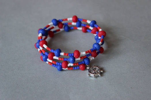 Red and blue nautical memory wrap wire bracelet by ettarielart