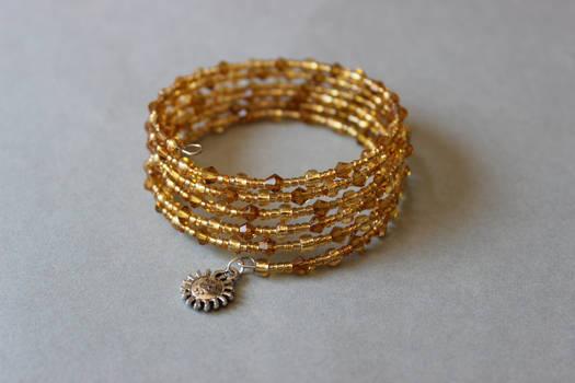 Crystal honey yellow memory wrap wire bracelet by ettarielart
