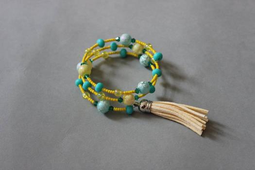 Yellow and mint memory wrap wire bracelet by ettarielart