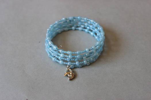 Pastel light blue memory wrap wire bracelet by ettarielart