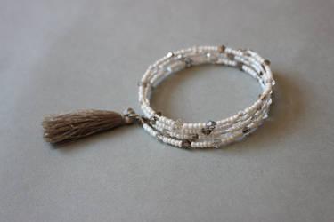 White gray memory wrap wire bracelet with tassel by ettarielart