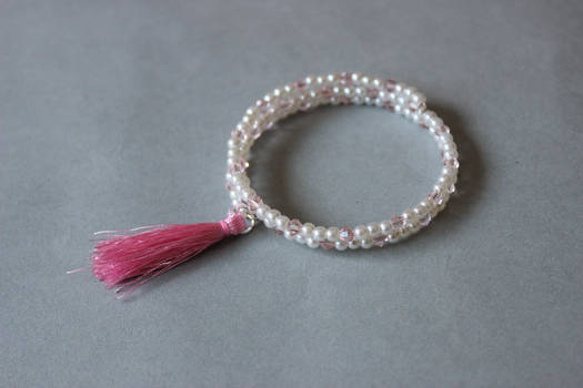 White pink memory wrap wire bracelet with tassel by ettarielart