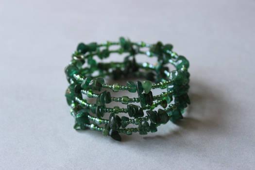 Emerald green aventurine memory wrap wire bracelet by ettarielart