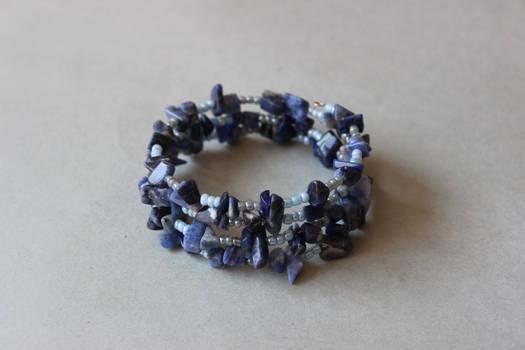 Dark blue sodalite memory wrap wire bracelet by ettarielart