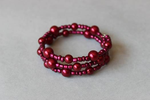 Metallic dark red memory wrap wire bracelet by ettarielart