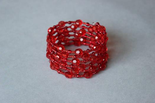 Crystal red memory wrap wire bracelet by ettarielart