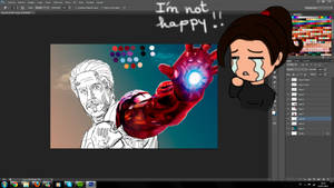 WIP2 Robert Downey Jr as Iron Man by MarinaSchiffer