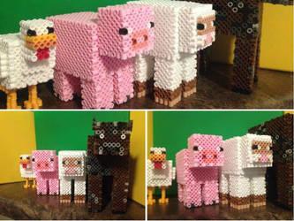 Minecraft Animal Line-Up by xXXxNightShadexXXx