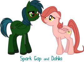 OC ponies - Spark Gap and Dahlia by BellaCielo