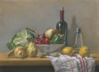 The kitchen : Pastel on Pastelmat by wimke