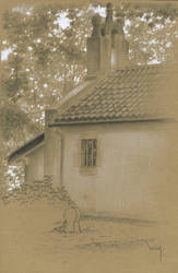 chapel : black and white pencil and white marker by wimke